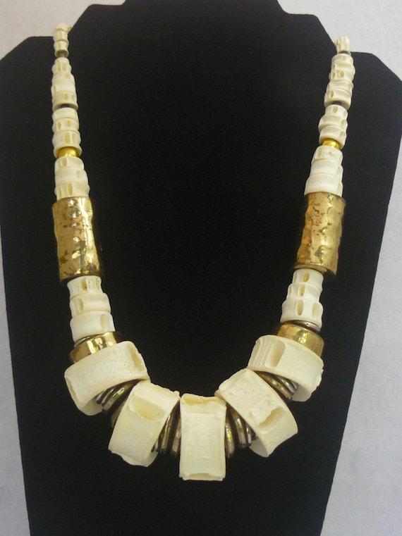 Shark Bone Natural Shark Vertebrae Brass Beads Tri