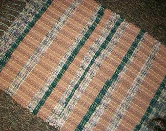 Handmade green and tan stripe loom woven rag rug  south dakota made