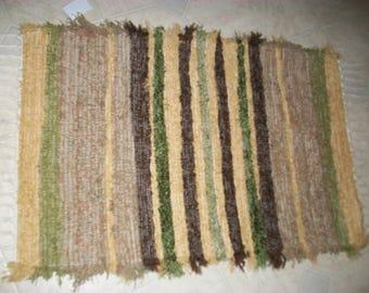 tan brown and  green  rug fuzzy shaggy plush rug South Dakota made woven rug
