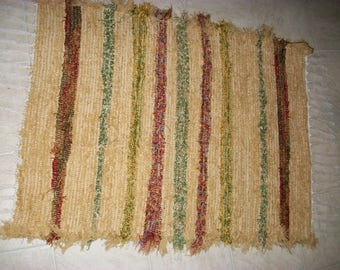 tan rust green  rug fuzzy shaggy plush rug South Dakota made woven rug