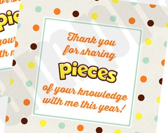 graphic regarding Thank You for Sharing Pieces of Your Knowledge With Me Printable called Reeses Elements Thank On your own Trainer Appreciation Prefer Tag Etsy