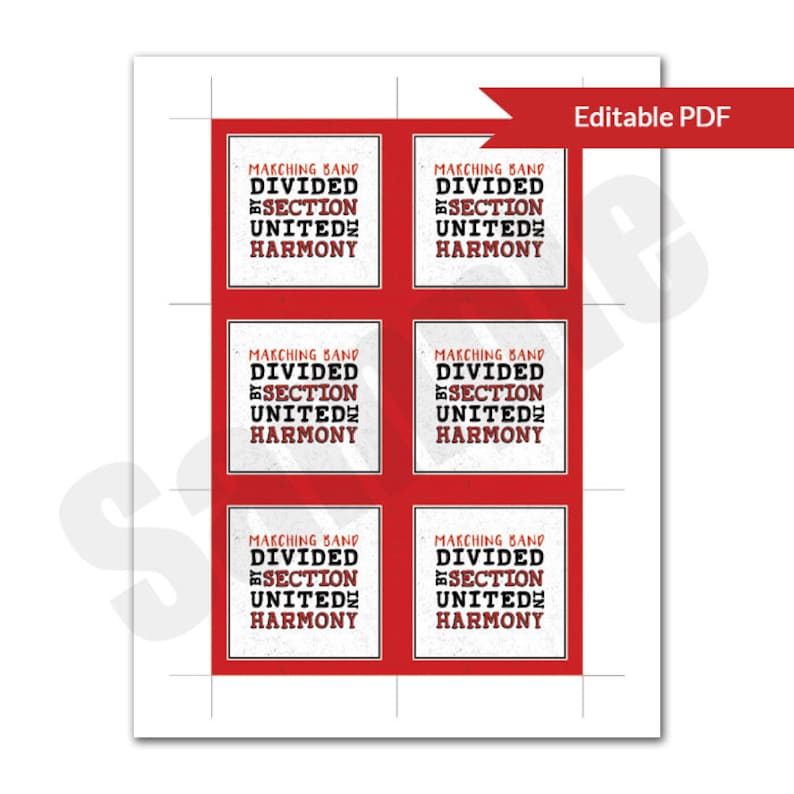 Marching Band Divided by Section United in Harmony Red and Black Editable  PDF Printable Favor Tag or Card