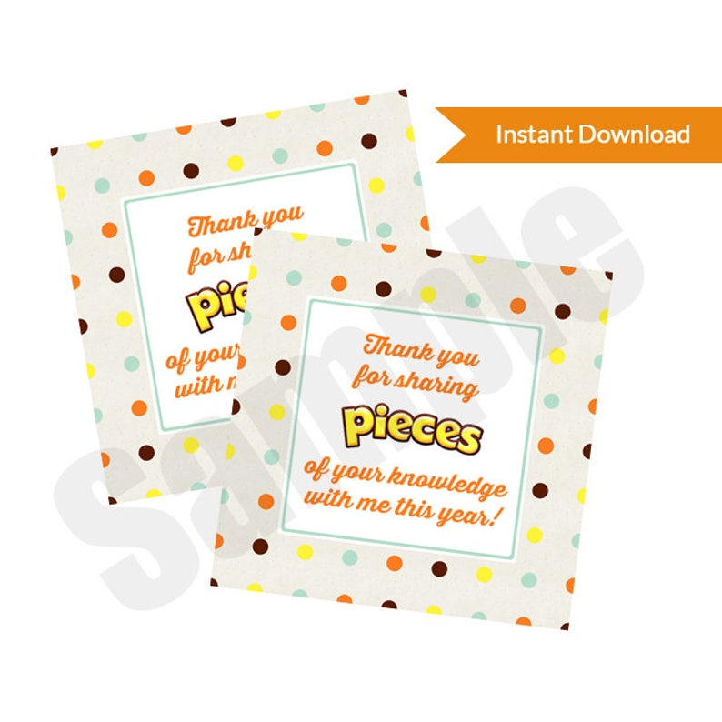 image about Thank You for Sharing Pieces of Your Knowledge With Me Printable referred to as Reeses Components Thank Yourself Trainer Appreciation Like Tag Sticker Personalized Printable