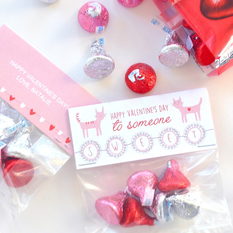 Kitty Cats Someone Sweet Valentine Favor Treat or Cookies Bag Topper Printable Classroom Exchange Editable PDF