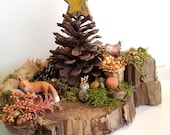 Little Folk Woodland Critters nature diorama featuring Red Fox and Little Bird with berries on a natural black walnut slab. Rustic