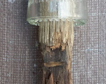 Vintage Hemingray Clear glass electrical insulator No. 9 Made in USA 10-42 with wood pole
