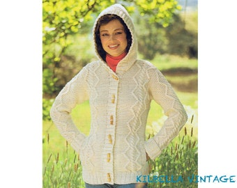 d63c0ab7a Aran Sweater Knitting Pattern - Women s Button Down Aran Hooded Sweater PDF Knitting  Pattern Instant Download