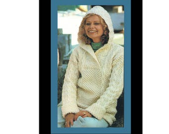 300a3bc87 Aran Pullover Knitting Pattern Women s Hooded Sweater Knitting Sizes 32 to  40 PDF Knitting PATTERN Instant Download