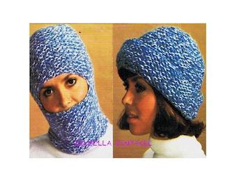 6969dca5bfc Womens Hat Knitting Pattern - Ski Mask - Balaclava - Vintage 1970 s PDF  Knitting Pattern