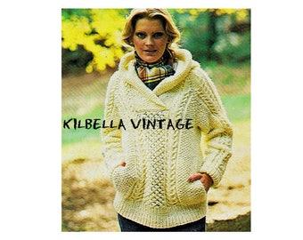 e610d7e4dbff Women s Sweater Knitting Pattern - Hooded Pullover Sweater Pattern PDF  Knitting Pattern Instant Download