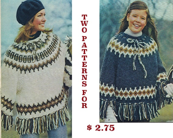 Poncho Knitting Patterns Womens And Childrens Etsy