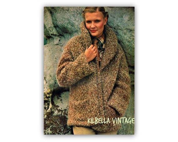 Sweater Knitting Pattern Womens Vintage Furry Jacket Etsy