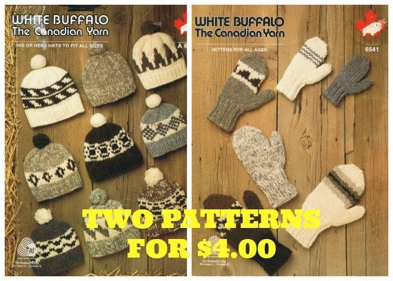 Cowichan Hat Knitting Pattern Plus White Buffalo Mitten Pattern Unisex PDF  Knitting Pattern Instant Download ee78f051ced