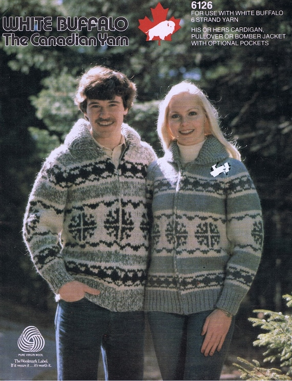 Cowichan Sweater Knitting Pattern White Buffalo Wool Zip Etsy