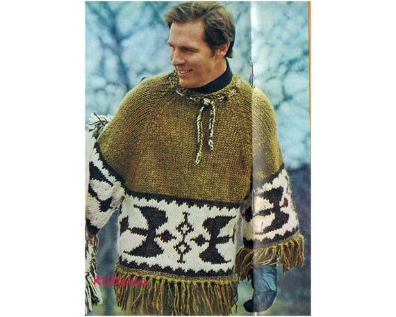 Knit Icelandic Poncho Pullover Mans Knitting Pattern Etsy