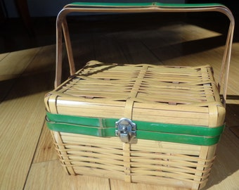 Bamboo Basket Purse with Green Handles and matching trim in Very Good Condition which can be used as purse or a picnic basket
