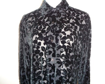 981484e78b9 Vintage Black Velvet and Silk Flocked Blouse in Very Good Vintage  Condition, Size Small Female Adult which can be dressed up or dressed down