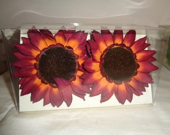 Brown silk flowers etsy 4 silk sunflower napkin rings in mint condition an unopened box of 4 burgundy orange and brown silk flowers which have never been used mightylinksfo