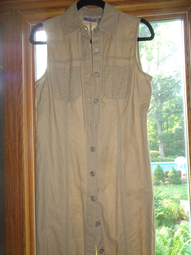 Vintage Bill Blass Long Length Linen Cotton Blend Sleeveless Summer Shirtdress Size M in Very Good Condition in a Timeless Classic Style