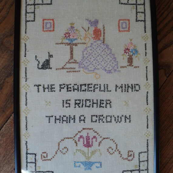 Antique Excellent Embroidered Sampler with a very Wonderful   Etsy