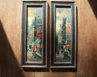 2 Original French Street Scene Oil Paintings  that depict the Streets and Boulevards of Paris in matching frames in Mint Condition