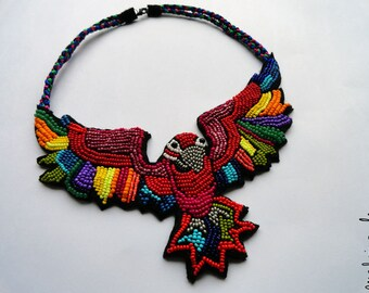 """Colorful Caribbean parrot necklace """"The Dream of a Red Macaw"""" - MADE TO ORDER"""
