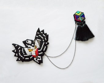 Summer 2015 double brooch Woodpecker, Black and white oversized brooch with neon tassel brooch  - MADE TO ORDER