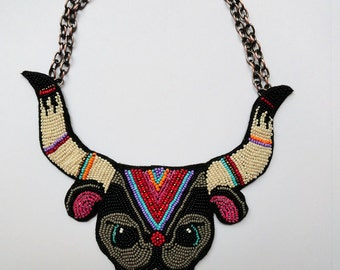 """Colorful statement beaded ox necklace for courage """"The Bodyguard"""" - MADE TO ORDER"""