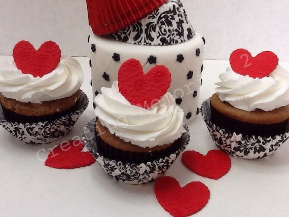 Rote Herzen Nicht Glatt Rot Fondant Herz Cupcake Kuchen Und Etsy