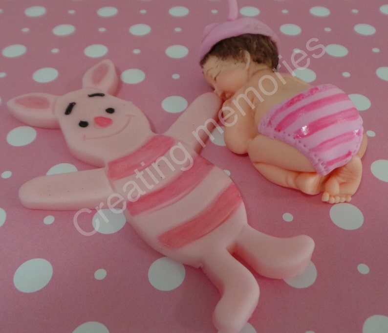 Fondant  BABY With Little BUNNY Cake Topper showerBirthday PartyCake SuppliesCupcakesBaby Boy TopperFondant Baby