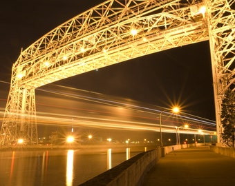 Duluth Lift Bridge framed with glass, wood and metal