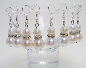 Pearl Dangle Earrings - Bridal Jewelry, White Pearl Earrings, Pearl Earrings, Dangle Earrings, Drop Earrings, Custom made Jewelry