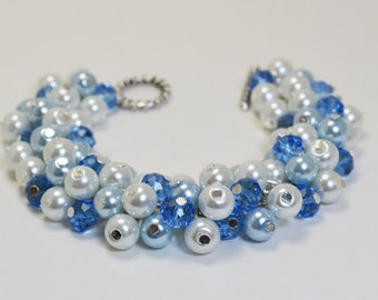 Pearl Bracelet, Powder Blue and White Bracelet, Cluster Bracelet, Chunky  Bracelet, Blue and White Wedding, Blue Bracelet, Cluster Bracelet