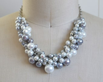 White Pearl Necklace, White & Gray Statement Necklace, Chunky Pearl Necklace, Silver Statement Necklace, White Bauble Necklace, Bead Jewelry