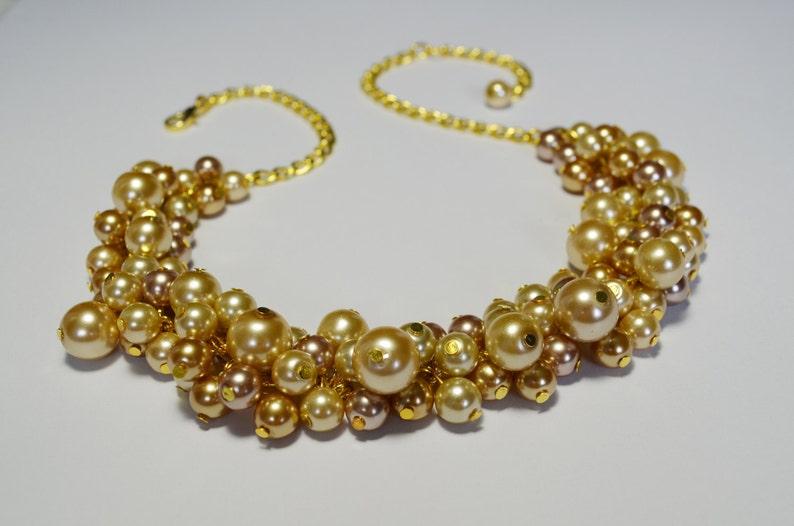76bed89b957b Collar de perlas oro Champagne y oro de la perla collar de