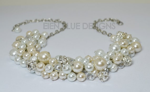 d84f38fc0845c Pearl Cluster Necklace, White & Ivory Pearl Necklace, Chunky Pearl  Necklace, Pearl Bridal Jewelry, white and pearl necklace, FREE US SHIP