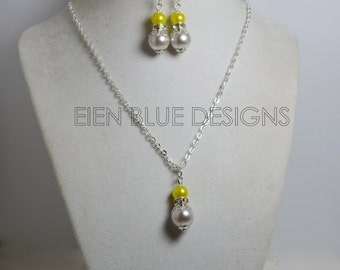 Chartreuse and Light Gray Pendant Necklace, Pearl Necklace & Earring Set, Gray n Neon Earrings, Chartreuse Bridesmaid Jewelry, Pearl Jewelry