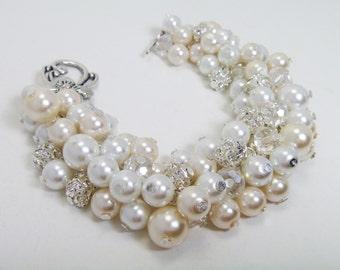 Ivory and white cluster bracelet, cream rhinestone bracelet, bridal bracelet, chunky bracelet, pearl and rhinestone bracelet, pearl jewelry