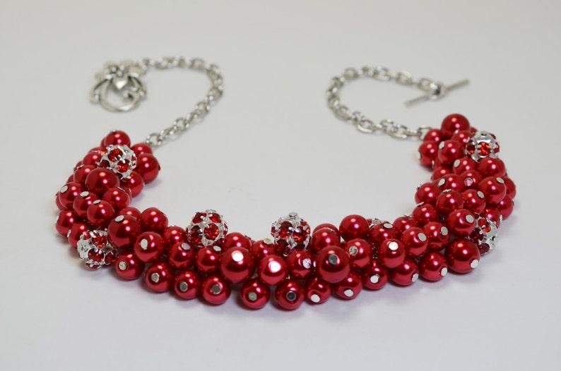 6db639b7ac7c Collar de perlas collar grueso rojo perla y diamantes de