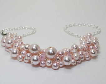 Pink Pearl Necklace, Soft Pink Cluster Necklace, Pink pearl necklace, pink chunky jewelry, pink pearl bridesmaid necklace, FREE SHIPPING
