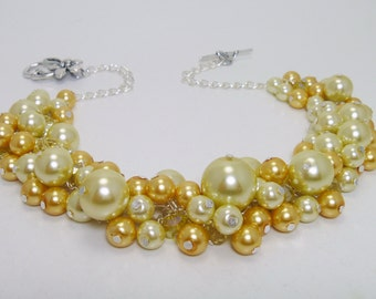 Yellow Pearl Necklace, Canary Yellow Necklace, Chunky Pearl Necklace, Shades of Yellow Necklace, Soft Yellow Pearl Necklace, FREE SHIPPING