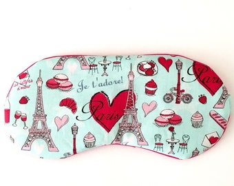 Paris sleep mask • Handmade sleep mask • Bridesmaids gift • Slumber party favor • Adjustable sleep mask • Paris Travel sleep mask