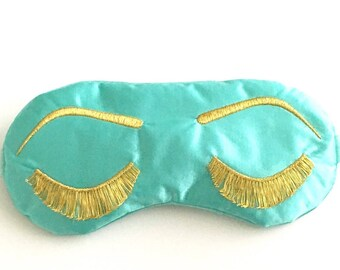 Holly Golightly Breakfast at Tiffany's sleep mask with adjustable elastic -  AQUA and METALLIC GOLD