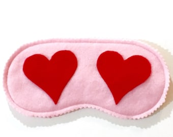 HEARTS fleece sleep mask, Valentine's Day gift, Pink sleep mask, Handmade gift, Cute gift for her, Sleep mask for girls, VARIOUS COLORS