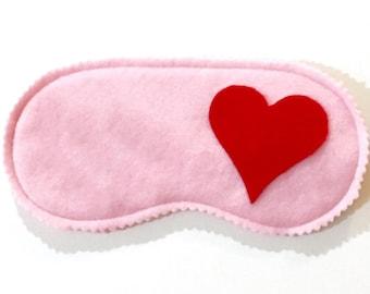 HEARTS fleece sleep mask, Valentine's Day gift, Pink sleep mask, Handmade gift, Cute gift for her, Sleep mask for girls, Stocking stuffer