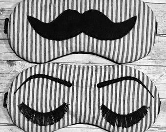 HIS HERS sleep mask • Seersucker sleep mask • Adjustable sleep mask • Eyelashes Mustache sleep mask • Mr Mrs gift • Bride Groom gift