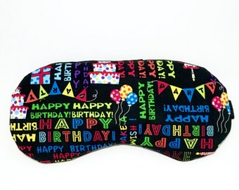 HAPPY BIRTHDAY adjustable sleeping mask • Birthday gift • Slumber party favor • Pj party favor