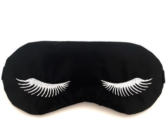 EYELASHES sleeping mask with adjustable elastic • Bridesmaids gift • Slumber party favor • Bachelorette party favor • BLACK and WHITE