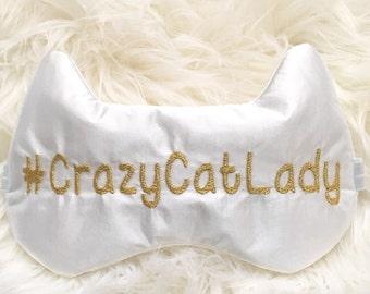 CRAZY CAT LADY sleep mask • Adjustable sleep mask • Cute Kitty sleep mask • Bridesmaids gift • Glam sleep mask • Gift for her