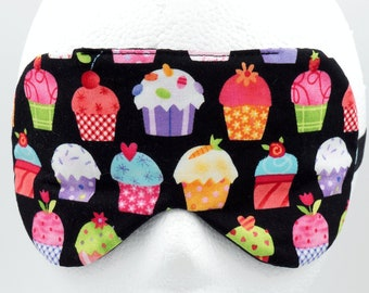 CUPCAKES sleep mask, Handmade sleep mask, Novelty sleep mask